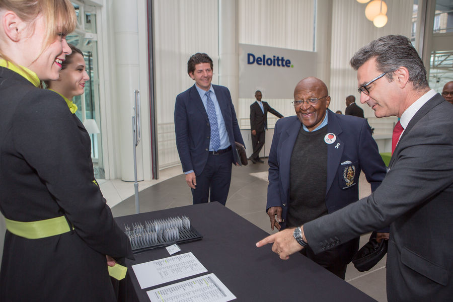 Desmond Tutu arriving at Deloitte France.