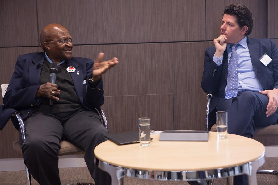 Desmond Tutu with Olivier Vanden Eynde